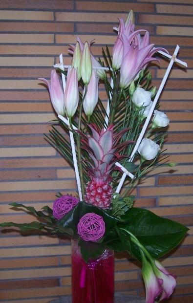 Bouquet linéaire ton rose